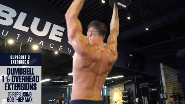 Dumbbell 1 and a half Overhead Extensions demonstration