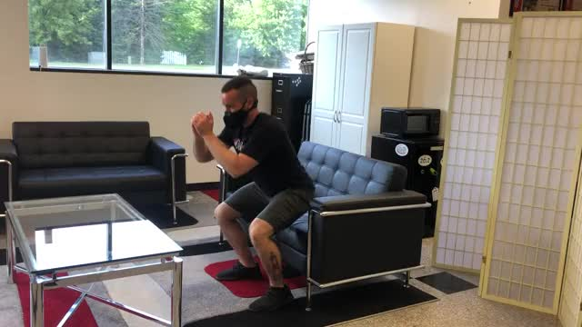 Couch Squat to Jump demonstration