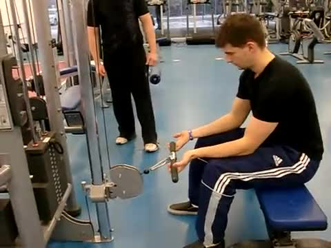 Seated Two-Arm Palms-Up Low-Pulley Wrist Curl demonstration