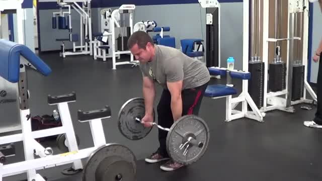 Male EZ Bar Reverse Grip Bent Over Row demonstration