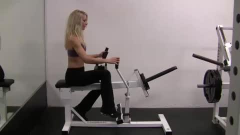 Female Self-assisted Single Leg Calf Raise (with opposite leg) demonstration