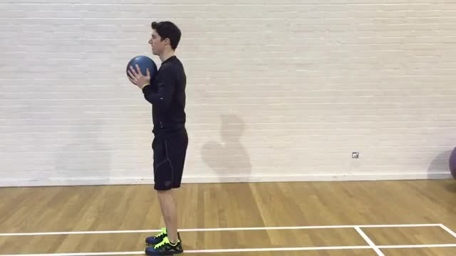 Male Medicine Ball Split Jump demonstration