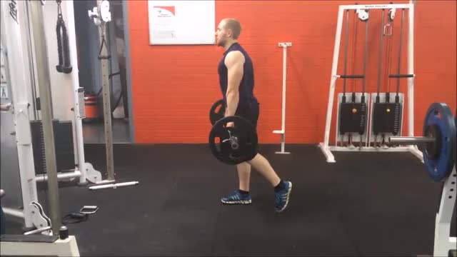 Male Barbell Single Leg Stiff-leg Deadlift demonstration