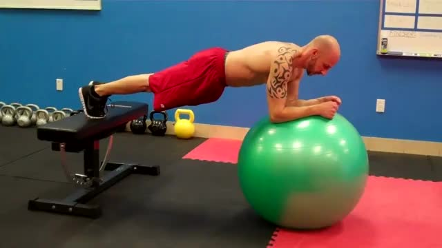 Swiss Ball Plank with Feet on Bench demonstration