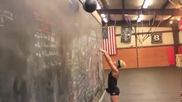 Female Medicine Ball Wall Shot demonstration