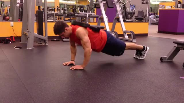 Male Weighted Close Grip Push-up demonstration