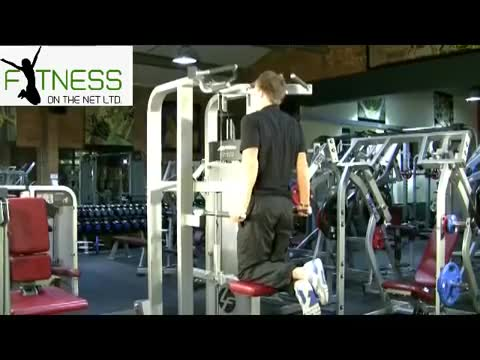Male Machine-assisted Triceps Dip demonstration