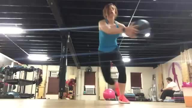 Female Medicine Ball Lateral Bound demonstration