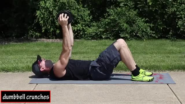 Weighted Crunches (with Dumbbell) demonstration