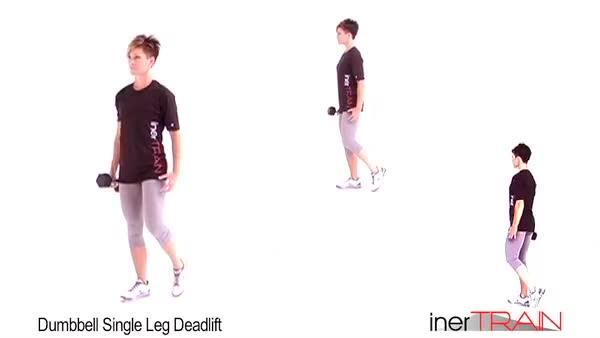 Female Single Leg Stiff-leg Deadlift with One Dumbbell demonstration