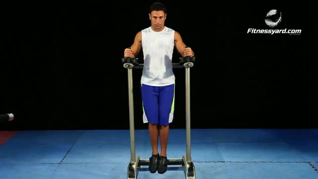 Vertical Straight Leg-Hip Raise (parallel bars) demonstration