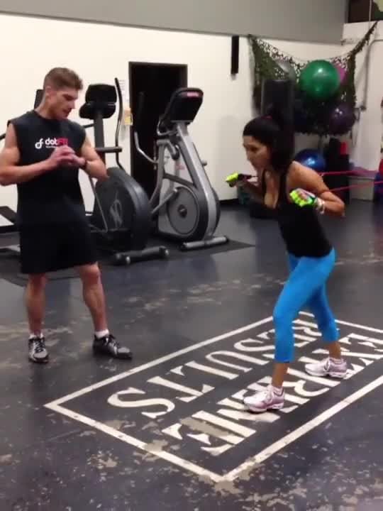 Female Resistance Band Punch demonstration