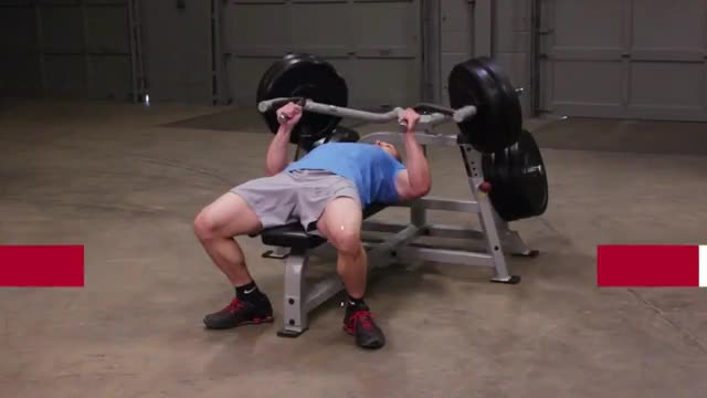 Male Lever Barbell Close Grip Bench Press (plate loaded) demonstration