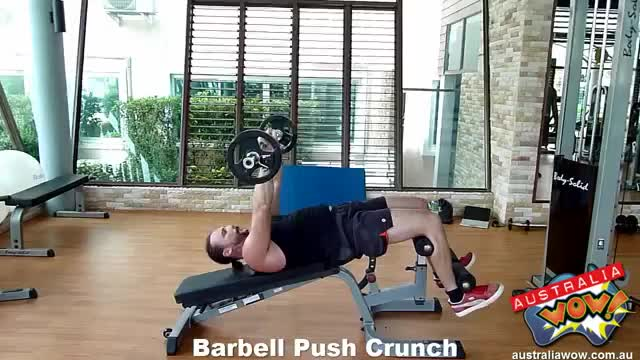 Barbell Push Crunch demonstration