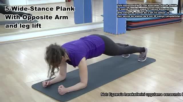 Female Wide-Stance Plank with Opposite Arm and Leg Lift demonstration