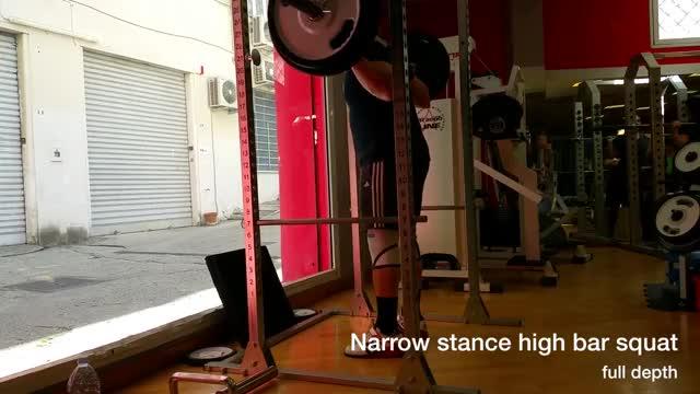 Male Narrow Stance High Bar Back Squat demonstration