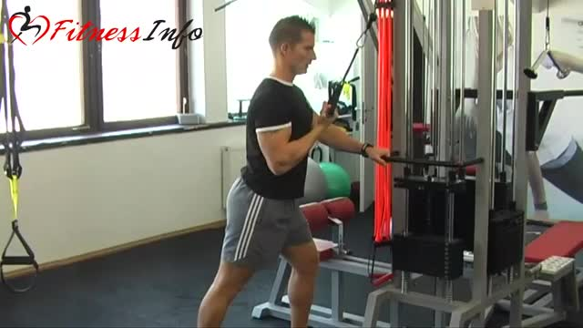 Male Reverse One Arm Cable Tricep Extension demonstration