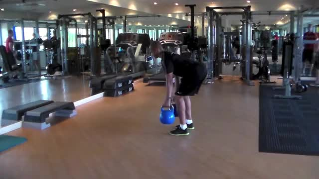 Male Two-Arm Kettlebell Row demonstration