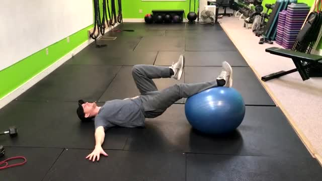 Single Leg Exercise Ball Leg Curl demonstration
