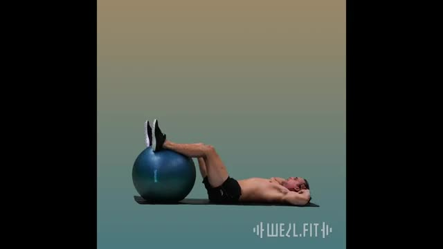 Stability Ball Bicycle Crunch demonstration