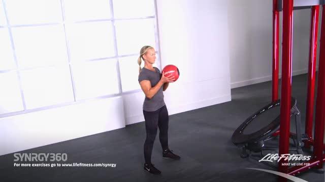 Female Medicine Ball Squat and Underhand Forward Throw demonstration