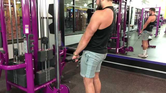 Male Cable Stiff Leg Deadlift demonstration