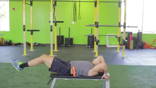 Male Lying Leg Raise With Hip Thrust (on Bench) demonstration