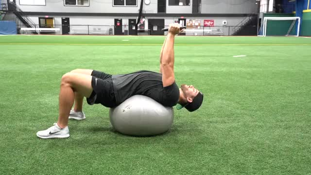 Male Weighted Exercise Ball Sit Up demonstration