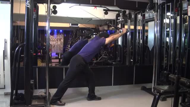 Male Cable Bent-over Triceps Extension (with rope attachment) demonstration
