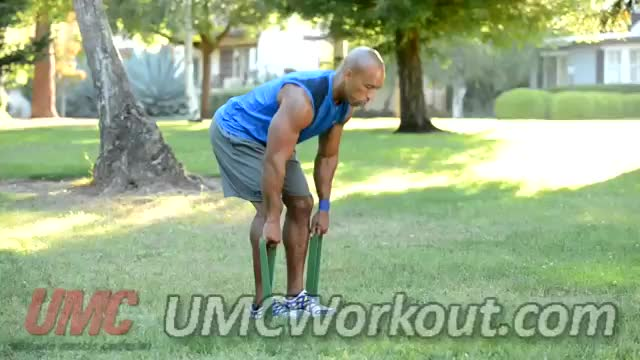 Resistance Band Deadlifts demonstration