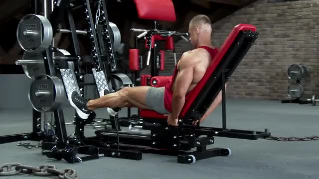 Male Sled Lying Calf Press (plate loaded) demonstration
