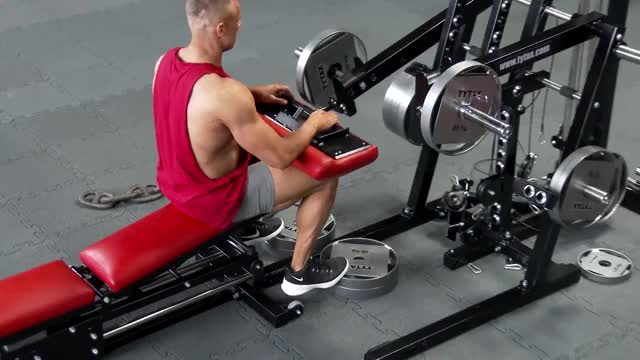 Male Lever Seated Calf Raise (plate loaded) demonstration