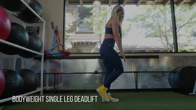 Female Single Leg Bodyweight Deadlift demonstration