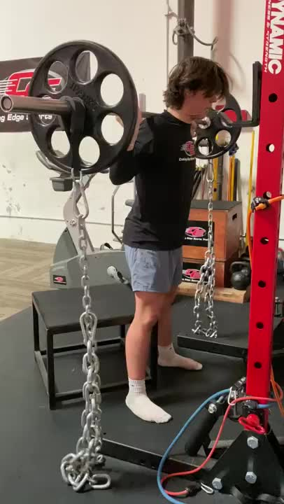 Box Squat with Chains demonstration