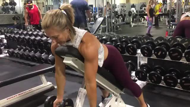 Female Reverse Grip Incline Bench Two Arm Dumbbell Row demonstration