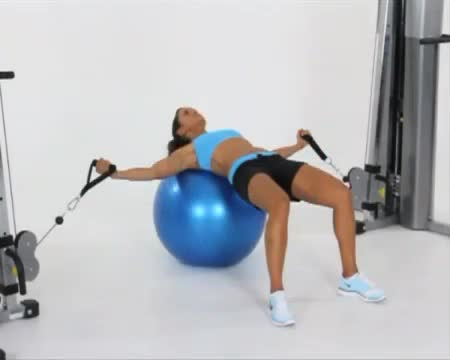 Female Exercise Ball Cable Flys demonstration
