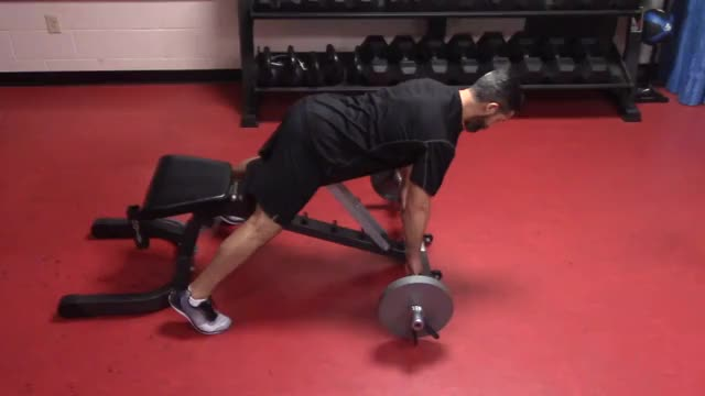 Incline Bench Barbell Row demonstration