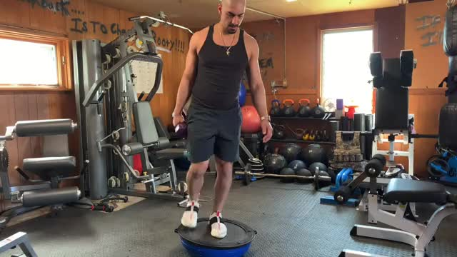 BOSU Single Leg Romanian Deadlift demonstration