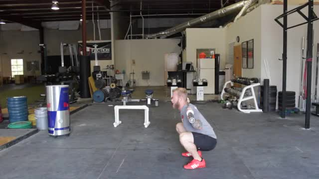 Behind Neck Press In Squat Stance demonstration