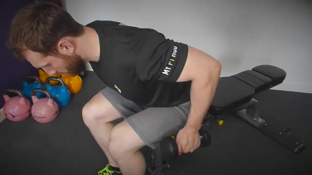 Male One Arm Seated Bent Over Dumbbell Kickback demonstration