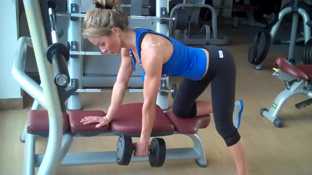Female Supported Single Arm Dumbbell Bent-over Row demonstration