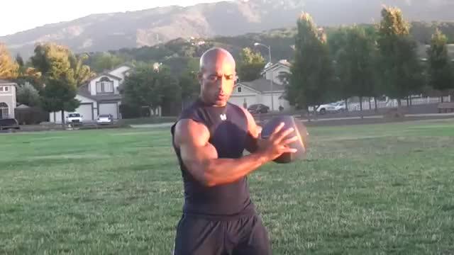 Male Medicine Ball Standing Twist demonstration
