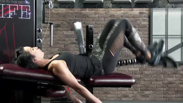 Female Lever Lying Hip Extension (plate loaded) demonstration