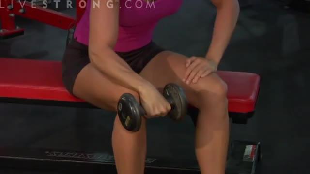 Female One Arm Reverse Dumbbell Wrist Curl Over Bench demonstration