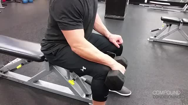 Male One Arm Reverse Dumbbell Wrist Curl Over Bench demonstration