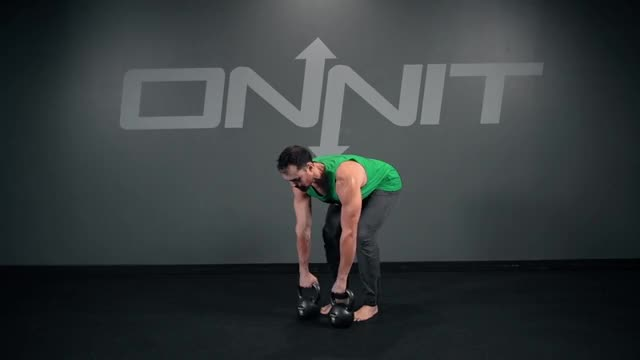 Double Kettlebell Bentover Wide Row demonstration