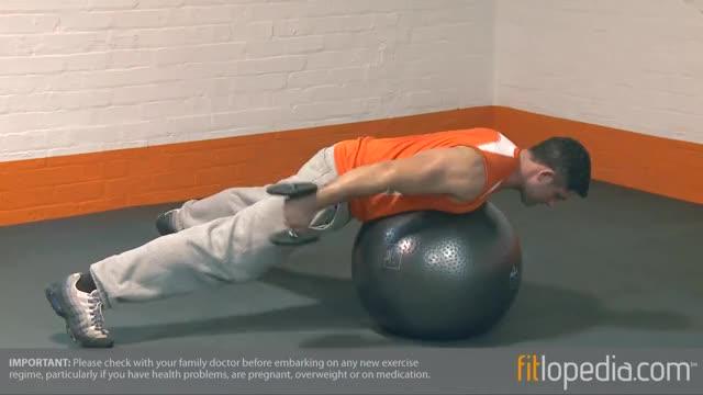 Male Exercise Ball Dumbbell Kickbacks demonstration