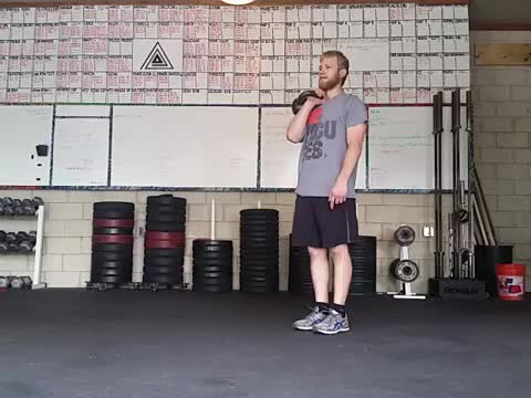 Male Kettlebell Lunge and Press demonstration