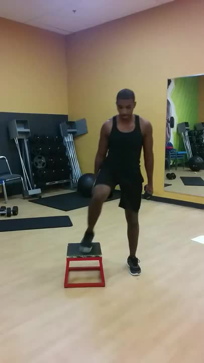 Step-Up to Balance Frontal, Curl to Overhead Press demonstration