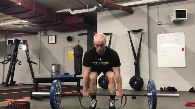 Male Banded Conventional Deadlift demonstration